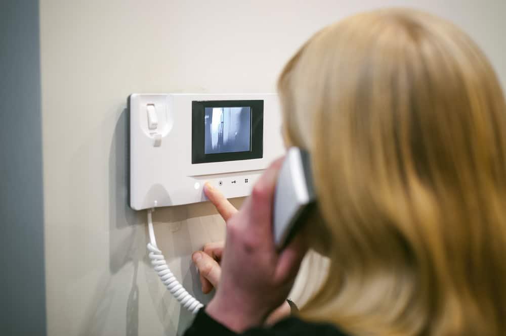 Lady using Intercoms